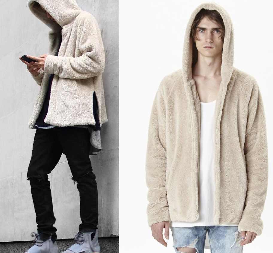 Роскошные Для мужчин; теплая трикотажная одежда для девочек с капюшоном, куртка, пальто, свитер Для Мужчин's осень-зима Повседневное свободные двухсторонний плюш Для мужчин, свитер, трикотажная кофта