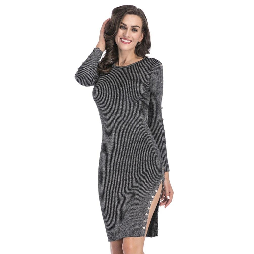 Women Bodycon Mini Dress Crewneck Length Dress Elegant Side Slit Stylish Long Sleeve Pullover Knitted Package