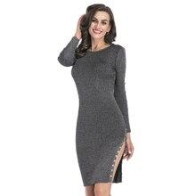 Для женщин облегающее платье мини Crewneck Длина платье элегантный разрез стороны Стильный пуловер с длинными рукавами трикотажные Вышивка Крестом Пакет бедра Jag платье