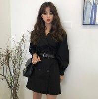 2018 Elegant Korean Style Solid High Waist Full Sleeve V Neck Double Breasted a Line Mini Dresses Women Autumn Dress with Belt