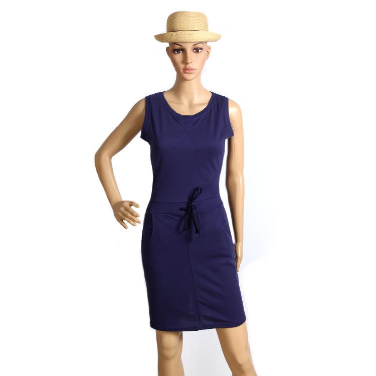 Slim Solid O-neck Sleeveless Pencil Casual Dress