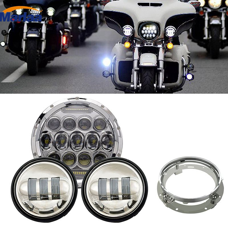 7 IN Motorcycle Daymaker Led Headlight with Monting Ring +2X Fog Lights For Harley Davidson Electra Glide Road King Street Glide black 7 inch motorcycle daymaker replacement led headlight 2 x 4 5 fog lights for harley davidson road king with 7 bracket