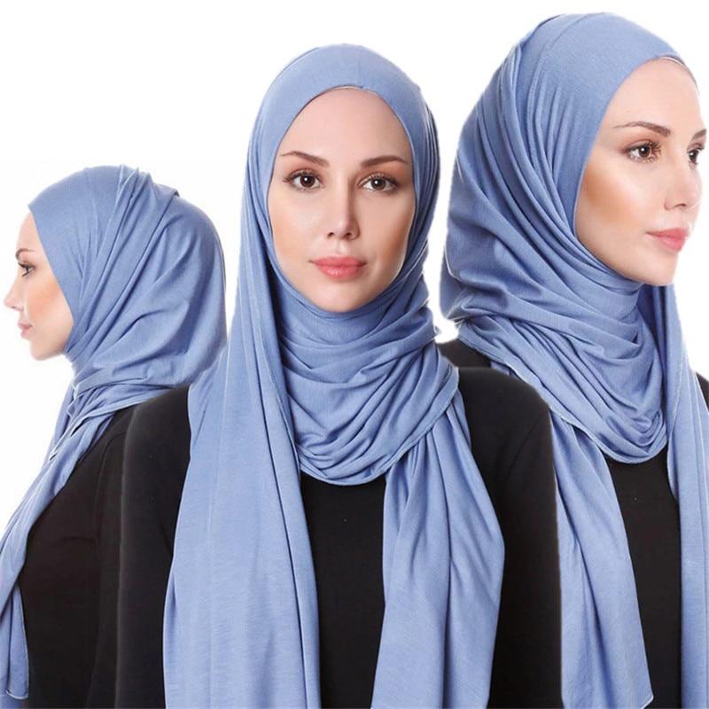 85*180 Muslim Jersey Hijab Scarf For Women Femme Musulman Plain Hijabs Islamic Foulard Shawls And Wraps Modal Headscarf Kopftuch