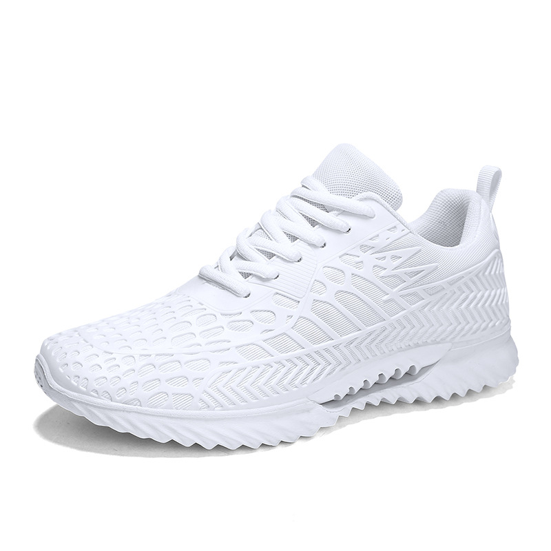 JINBEILE men and women running shoes  Spring2019 Unisex Breathable Mesh (Air mesh) Stability 10km off white black sneakers