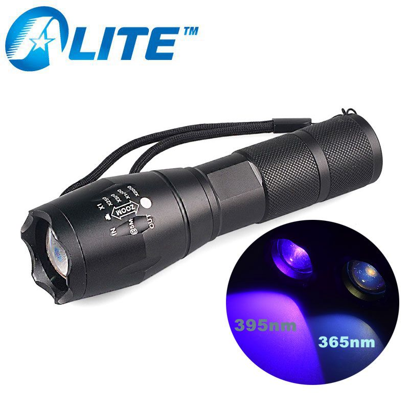 [Free Ship] E17 UV LED 365nM 395nM 5W Power Aluminum Zoom Ultraviolet Flashlight Lamp Black light Torch [free ship] led uv scorpion flashlight waterproof high power 395nm ultraviolet lamp purple uv torch led light zoom flashlight