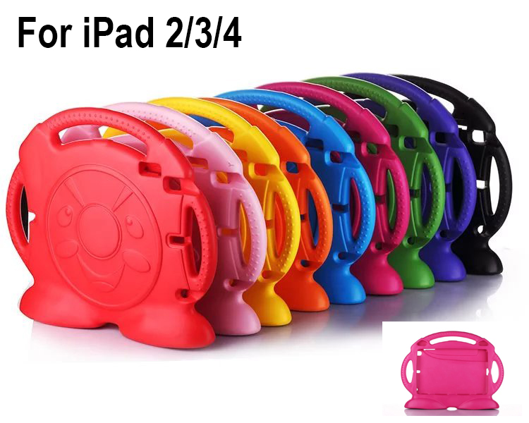 Fashion Case Cover For iPad 2/3/4 Lovely Cute 3D Cartoon Handle Stand Kids Shockproof Wash
