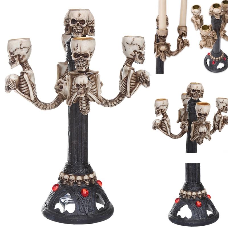 Gothic Sculptures Halloween Resin Skull Candle Stick Statue Halloween Horror Skull Ornament Modern Creative Home Decoration
