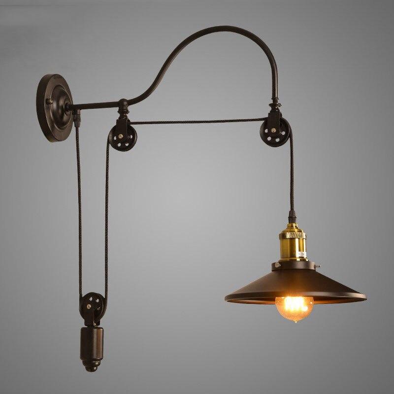 Vintage Retro Loft Wall Lamp Adjustable Iron Lifting Pulley Lamp Bedroom Study Office Restaurant Cafe Light Bra Wall Sconce