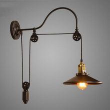 Vintage Retro Loft wall lamp Adjustable Iron lifting Pulley Lamp bedroom study office restaurant cafe light bra wall sconce