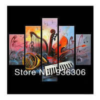 Abstract Oil Painting On Canvas Musical Instrument Picture For Dining Room Decorate Handmade 5 Panels Wall Art Still Life Craft