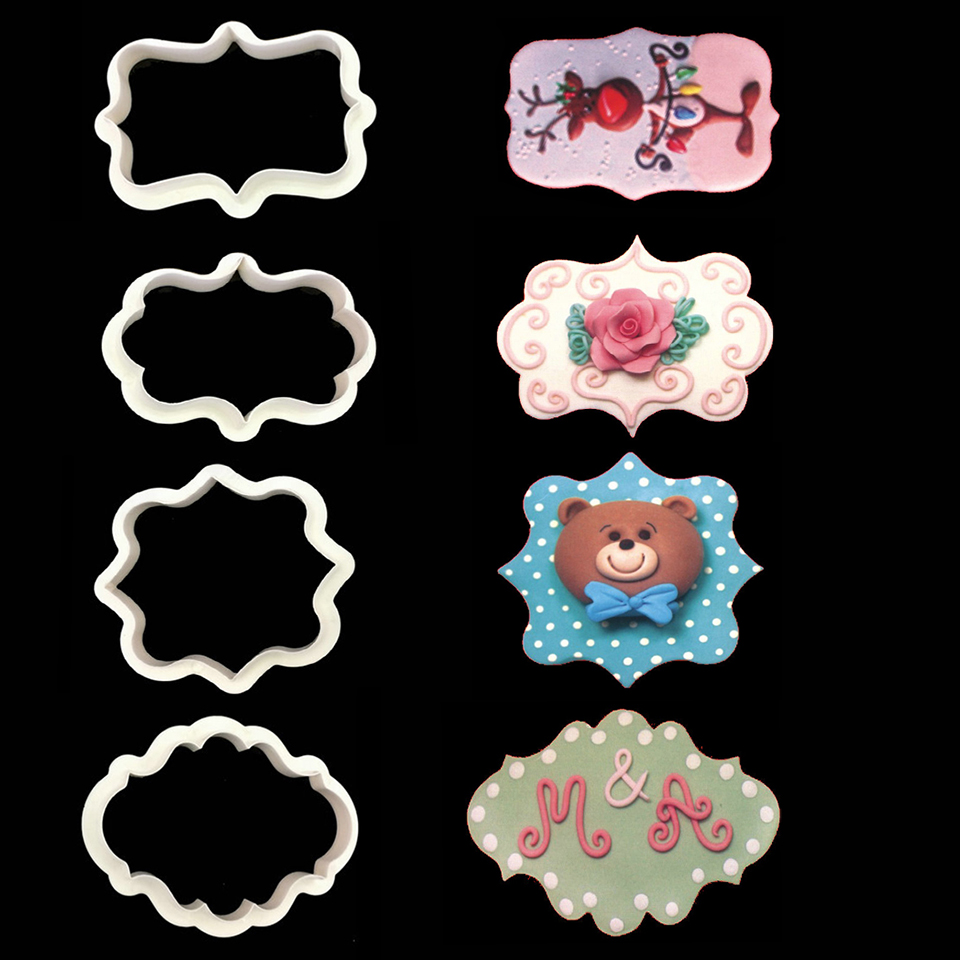 4pcs Vintage Plaque Frame Cookie Cutter Set Plastic Biscuit Mold Fondant Cutter Cake Decorating Tools Sugarcraft Baking Mold