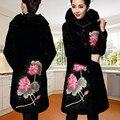 Plus Size 5XL 2015 Mulheres Jaqueta de Inverno Casaco de veludo engrossar trincheira bordado outerwear casaco de outono e inverno das mulheres longa
