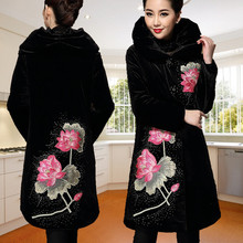 Plus Size 5XL 2015 Winter Jacket Women Coat velvet thicken embroidery trench women s autumn and