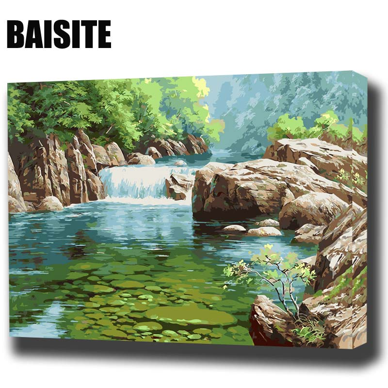 BAISITE DIY Framed Oil Painting By Numbers Landscape Pictures Canvas Painting For Living Room Wall Art Home Decor E811