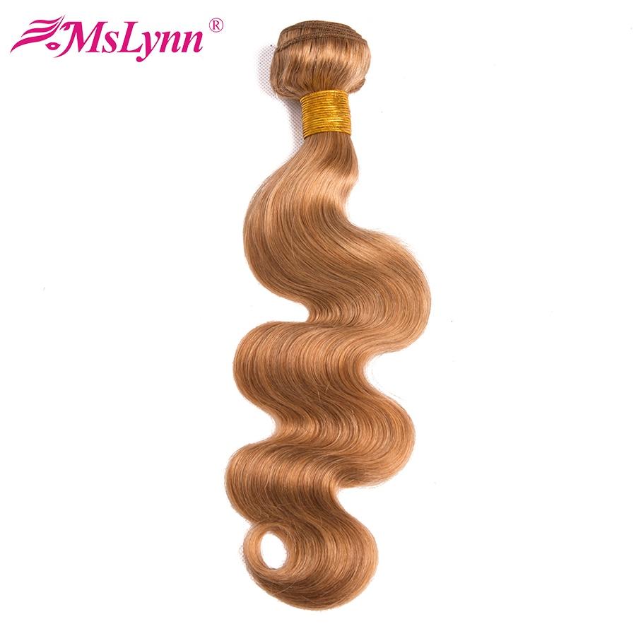 Honey Blonde Brazilian Body Wave Bundles Human Hair Extension 1PC #27 Double Weft Mslynn Non Remy Hair Bundles Free Shipping