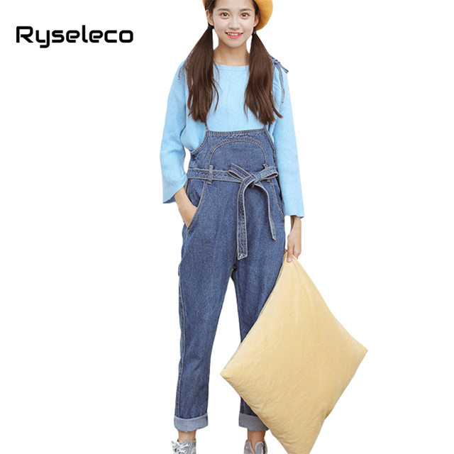 446f71a853cd Ryseleco Preppy Style Spring Fashion Bow Lace Up High Waist Denim Overalls  Students Jumpsuits Slim Casual