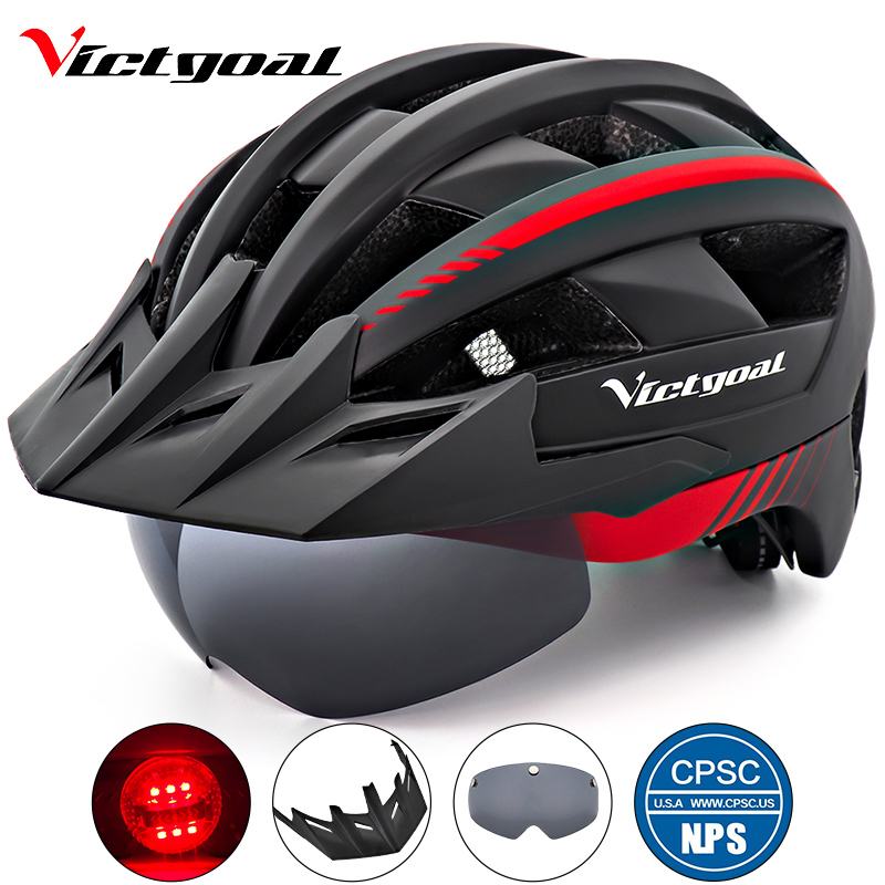 VICTGOAL Bike Helmet LED Light Adult Men Women Bicycle Helmet With Visor Glasses Goggles MTB Mountain