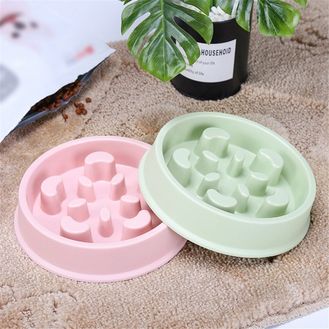 Pet Dog Slow Feeder Anti Choking Anti-Gulping Plastic Plate Bowl