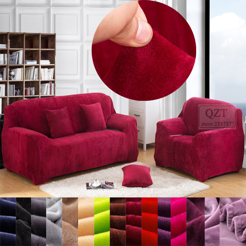 Case colorful sofa cover winter plush stretch corner couch for Universal sectional sofa slipcovers