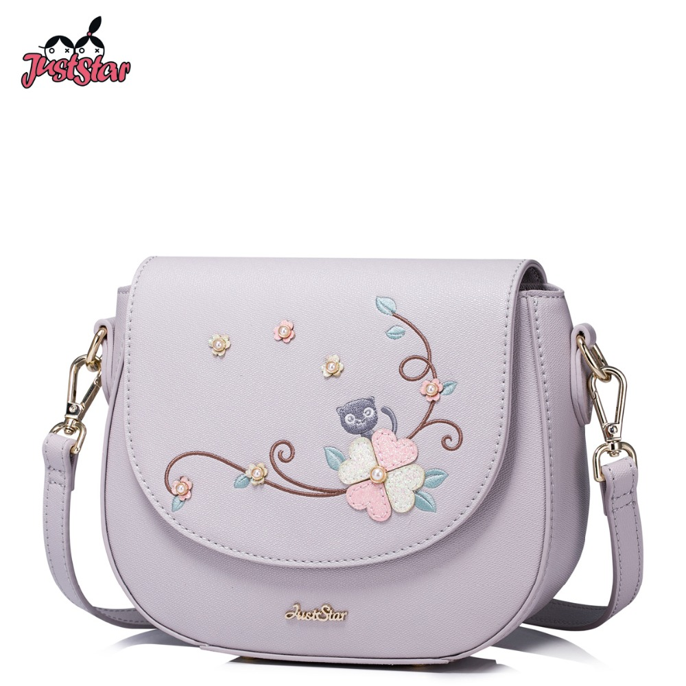 JUST STAR Women PU Leather Messenger Bags Ladies Embroidery Shoulder Bag Girl's Cat Beading Saddle Leisure Crossbody Bags JZ4294 just star women s pu leather messenger bags ladies embroidery shoulder purse female chain leisure whale crossbody bags jz4468