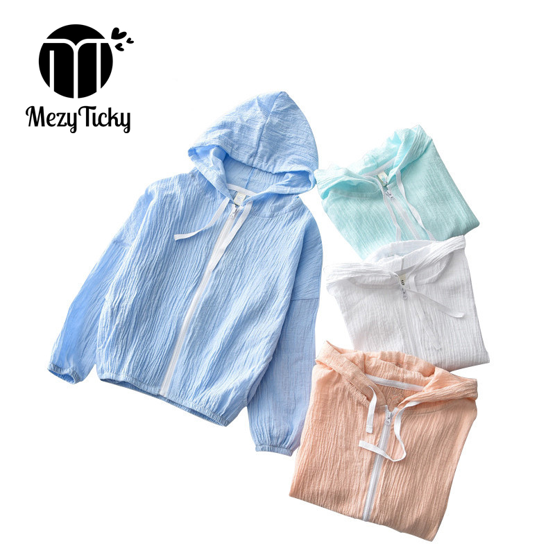 MezyTicky Summer autumn tiny cotton hoodie coats boys beach sun protection kids clothing baby girls jacket