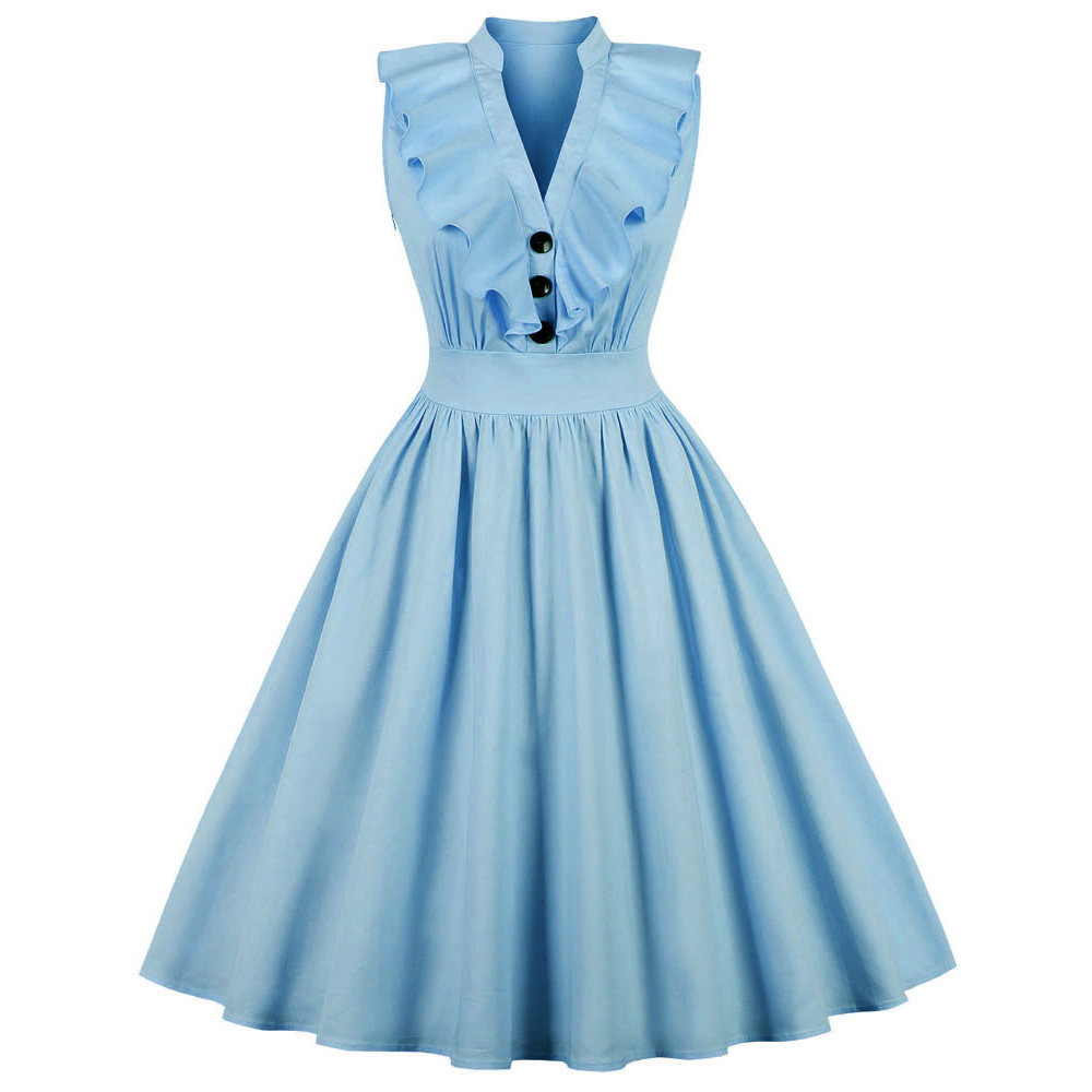 S-4XL Women Autumn Vintage Dress Rockabilly V-Neck Sleeveless Cotton Pin Up Dress Ladies Button Up Ruffles A-Line Party Dresses