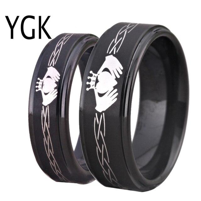 טונגסטן קרביד גברים של שחור טבעת קלאסי האהבה הקלטית עיצוב נשים של אהבת טבעת ידידות מתנת אירוסין מפלגה טבעת