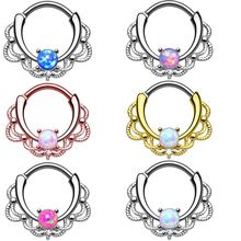 OLOEY New Fashion Nose Rings Women Body Jewelry Clip Hoop Septum Rhinocyclic Opal Stone Ring Hot Style