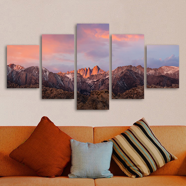 US $29 24  QKART 5 Panels Landscape Painting Macos Sierra Mountains Canvas  Art Wall Pictures for Living Room Home Decor No Frame-in Painting &