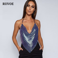 Elegant Metal Crop Top 2017 Summer Style Sexy Backless Bralette Beach Halter Purple Black Sequined Party