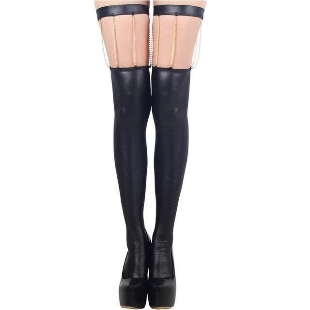 RYC80057 couro Preto meias calças justas Sexy one size mulheres meias new design poliéster e elastano moda mulheres meias