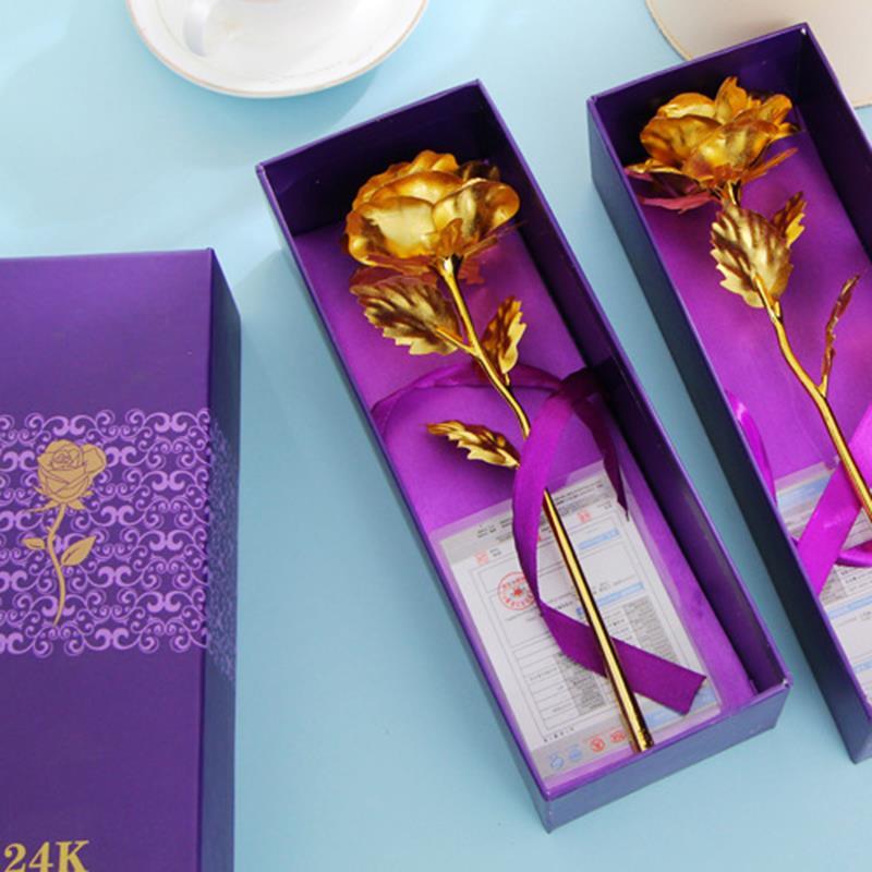 1 piezas 24 k chapado en oro rosa de Rosa Artificial creativo Flor de regalo de día de San Valentín cumpleaños regalo de boda para los amantes de la