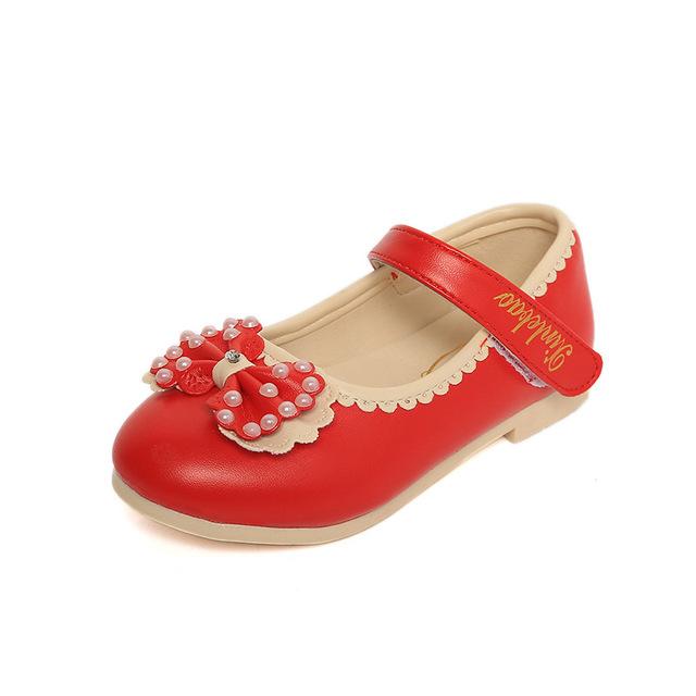 2017 fashion baby girl shoes arco strass decoração do partido do miúdo de couro shoes sólidos primavera outono crianças princesa chaussure