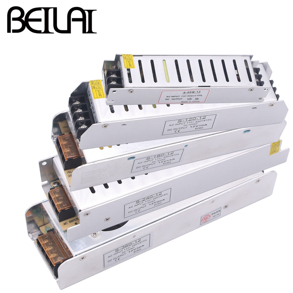 Led Strips Brilliant Dc 12v Lighting Transformers Ac 110v 220v Led Light Driver For Led Strip Switch Power Supply 1a 2a 3a 5a 10a 15a 30a 40a 50a 60a