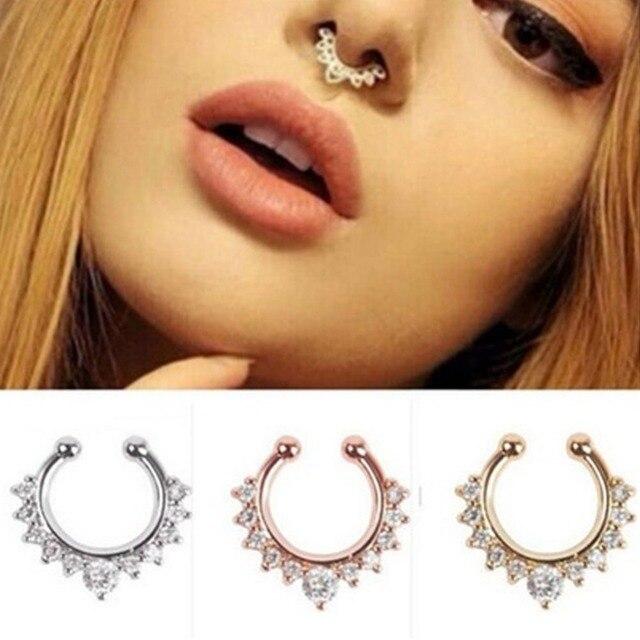 Nowe Mody Tytanu Kryształ Fałszywe Nose Ring Przegroda Nosa Hoop Pierścień Body Piercing Biżuteria drop shipping