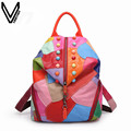 2016 New Fashion Casual Multicolor Backpacks Genuine Leather Backpacks For Women School Bags Travel Bag Campus Backpacks Girls