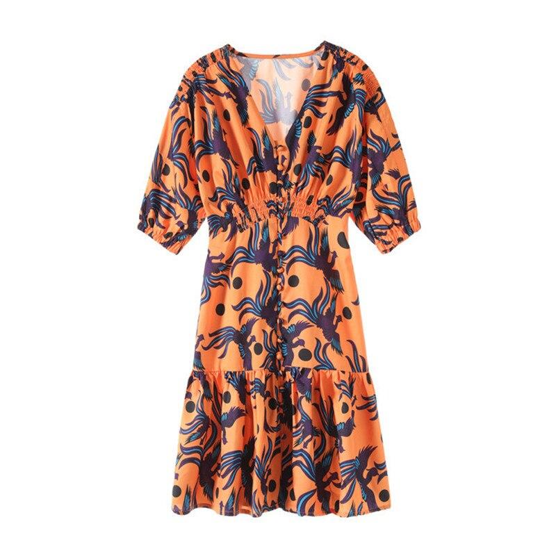 2019 été marque élégant Orange Phoenix motif unique Breasited Vintage col en v robe manches bouffantes Chic Mini robe vêtements