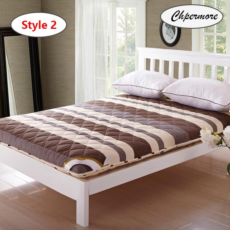 Image 5 - Chpermore Thicken Brown stripe Mattresses Keep warm Foldable Tatami 100% cotton Mattress Cover For Family Bedspreads King Size-in Mattresses from Furniture