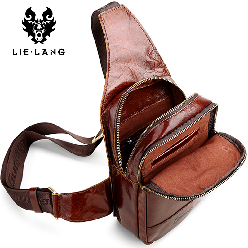 LIELANG 2018 New Hot Genuine Leather Men Shoulder Bag Fashion Casual Messenger Bags Crossbody Bag Casual Chest Pack Mens Bags goog yu retro leather men s chest pack fashion casual messenger bag high grade genuine leather bag cowhide shoulder bags