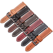 купить HENGRC 18 20 22mm Genuine Leather Watch Band Strap Manual Men Thick Brown Black Watchbands Stainless Steel Buckle Accessories по цене 519.75 рублей