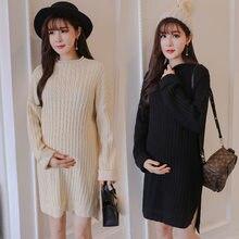 02bf1c3de Maternidad de la moda coreana Ribbed suéteres 2018 Otoño Invierno suelta de  punto Pullovers ropa para las mujeres embarazadas ve.