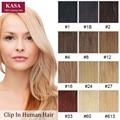 Clip En Extensiones de Cabello 18 pulgadas 45 cm 8 Unids 160 gramos Verdadero cabello Natural Humano Brasileño Remy Pelo Rubio Mejor postizos Para la Cabeza Completa