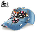 Joymay 2016 New Fashion Design Bling Hat&Cap Colorful Butterfly Denim Jean Lady Baseball Cap B224
