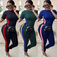 2018 African clothing dasiki new traditional sexy casual short sleeve multi-color jumpsuit