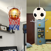 creative Basketball LED lamp art deco pendant light football children bedroom cartoon personality nursery Eye Care E27