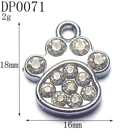 18mm Kid's Fashion Rhinestone Silver Tone Alloy Dog Foot Charms,DIY Pets Collar Charms,Free Shipping Wholesale 50pcs/lot