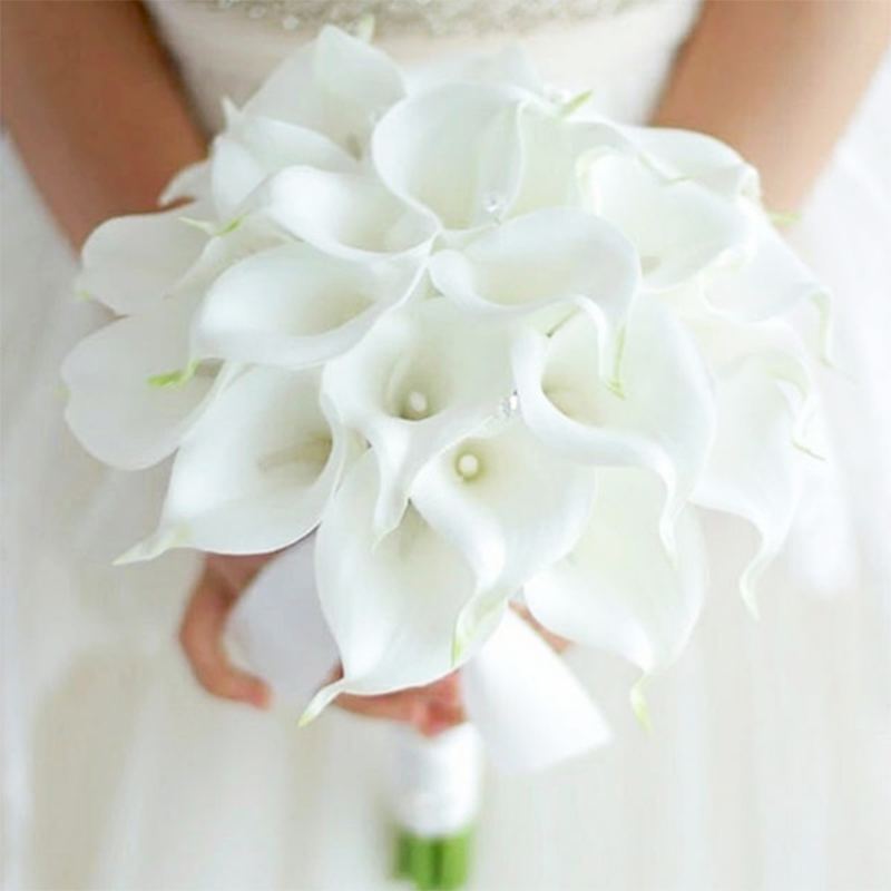 2PC Real Touch Artificial Flowers Wedding Decorative Bride Bouquets Calla Lily With Leaf Fake Flowers For Home Party Decoration