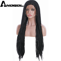 Anogol High Temerpture Fiber Brazilian Hair Peruca Box Long Braids Black Synthetic Lace Front Wig For African American Women