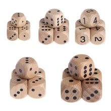 5pcs 6 Sided Wood Dice Mahjong Party Number Or Point Round Coener Kid Toys Game(China)