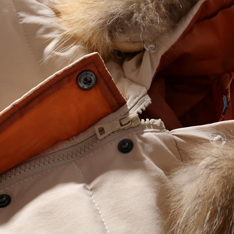 Femmes D'hiver Raton noir De Mode Capuchon Manteau À Chart Whiteduckdown Grande Veste kaki Lâche Nouveau Style See Fourrure Chaud Laveur 2018 Parkas Taille rwqrn1CxP